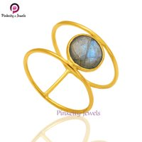 Natural Labradorite Faceted Round 925 Streilng Silver Ring Jewelry