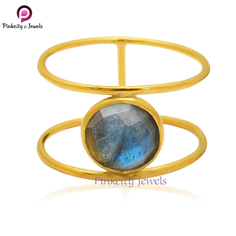 Labradorite Faceted 925 Silver Ring