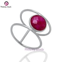 Ruby Faceted Round 925 Silver Ring