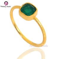 Natural Faceted Green Onyx Cushion Shape Gemstone 925  Sterling Silver Matte Finish Ring Jewelry