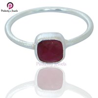 Beautiful Ruby Faceted Cushion Shape 925 Sterling Silver Ring Jewelry