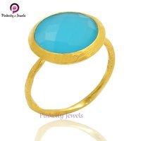 Hot Blue Chalcedony Faceted Gemstone 925 Sterling Silver Ring Jewelry