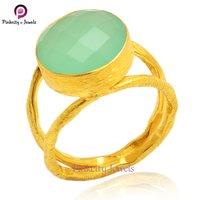 Aqua Chalcedony 925 Silver Ring