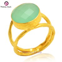 Gold Plated Aqua Chalcedony Faceted Round Gemstone 925 Sterling Silver Ring Jewelry