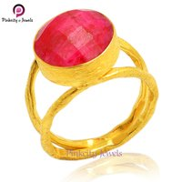 Beautiful Ruby Faceted Round Gemstone 925 Sterling Silver Ring Jewelry