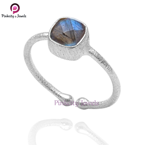 Natural Labradorite 925 Silver Ring