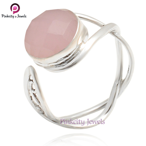 Beautiful Pink Chalcedony Faceted Gemstone 925 Sterling Silver Ring Jewelry