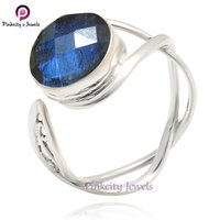 Natural Labradorite Faceted Round Gemstone 925 Sterling Silver Ring Jewelry