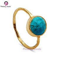 Hot Sale Turquoise Faceted Round Gemstone 925 Sterling Silver Ring Jewelry