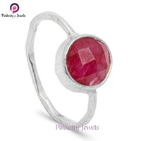 Beautiful Hot Sale Ruby Faceted Round Gemstone 925 Sterling Silver Ring
