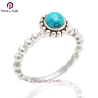 Beautiful 6 mm Round Turquoise Gemstone 925 Sterling Silver Ring