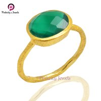 Natural Faceted  Green Onyx Gemstone 925 Sterling Silver Ring Jewelry
