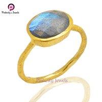 Beautiful Faceted Labradorite Gemstone 925 Sterling Silver Matt Finish  Ring Jewelry