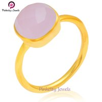Beautiful Gold Plated Pink Chalcedony Faceted Gemstone 925 Sterling Silver Ring Jewelry