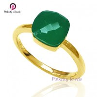 Hot Sale Beautiful Natural Green Onyx Faceted Gemstone 925 Sterling Silver Ring Jewelry