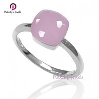 Beautiful Natural Pink Chalcedony Faceted Gemstone 925 Sterling Silver Ring Jewelry