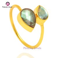 Natural Labradorite Faceted Pear Shape 925 Sterling Silver Ring Jewelry