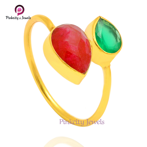 Natural Green Onyx & Ruby 925 Silver Ring