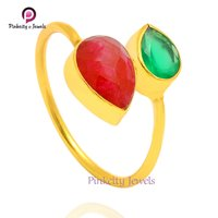 Natural Green Onyx And Ruby Faceted Pear Gemstone 925 Sterling Silver  Adjustable Ring Jewelry