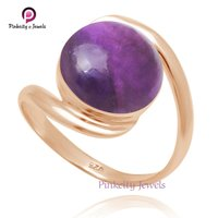 Natural Amethyst Round Cabochon Gemstone 925 Sterling Silver Rose Gold Plating Ring Jewelry