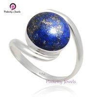Beautiful  Lapis lazuli Cabochon Round Gemstone 925 Sterling Silver Ring Jewelry