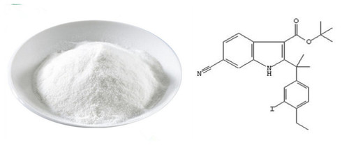Tert-butyl 6-cyano-2-(2-(4-ethyl-3-iodophenyl)propan-2-yl)-1H-indole-3-carboxylate 1256584-75-4