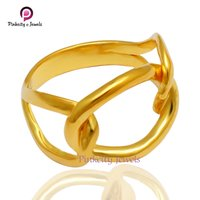 Beautiful Double Knot Gold Plated 925 Sterling Silver Plan Ring Jewelry