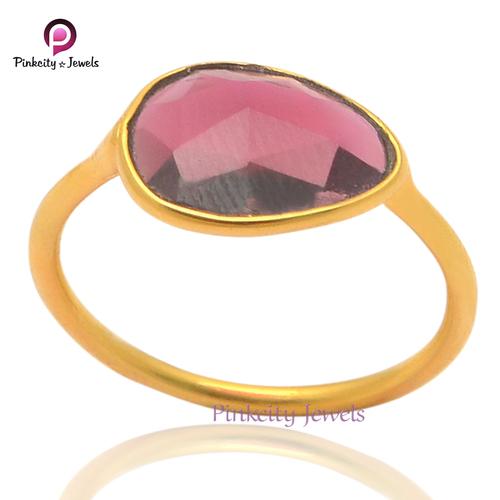 Garnet Pear  925 Silver Ring
