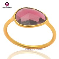 Beautiful Faceted Garnet Pear Shape Gemstone 925 Sterling Silver Ring Gold Plated Jewelry