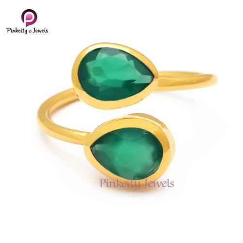 Natural Green Onyx 925 Silver Rings