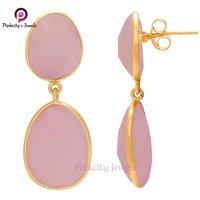 Pink Chalcedony  925 Silver Earring Jewelry