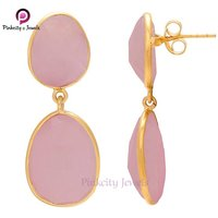 Pink Chalcedony 925 Silver Earring