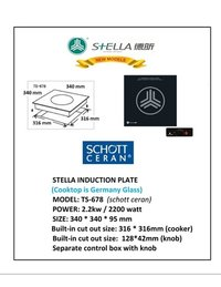 Ts-678  Stella Induction Schott Ceran Glass Counter Sunk, 2200 Watts, 34x34 Cm, Rs. 17500.00++