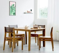 Dining table set dual tone finish 4 seater