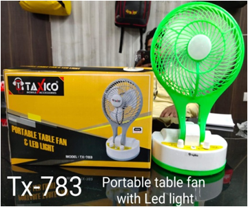 TX-783 PORTABLE FAN WITH LED LIGHT