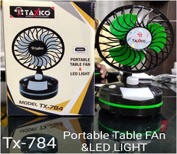 TX-784 PORTABLE TABLE FAN WITH LED LIGHT