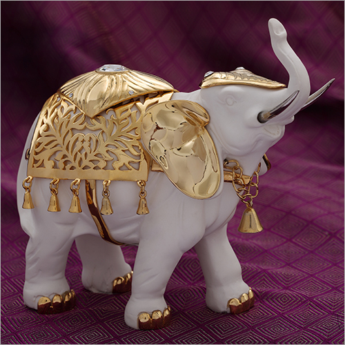 Elephant Gold Plated Decorative Resin Statue