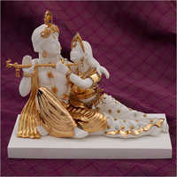 Gold Plated Resin Radha Krishna Statue