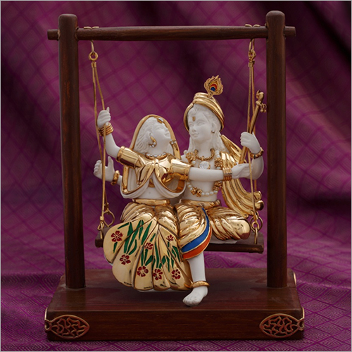 Gold Plated Resin Radha Krishna Swing Set Statue
