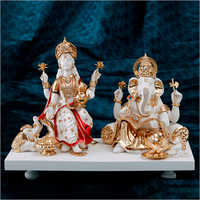 Gold Plated Resin Laxmi Ganesh Statue