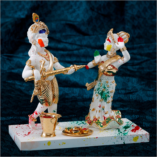 Gold Plated Resin Marble Set Radha Krishna Set Statue