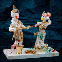 Gold Plated Resin Marble Radha Krishna Statue