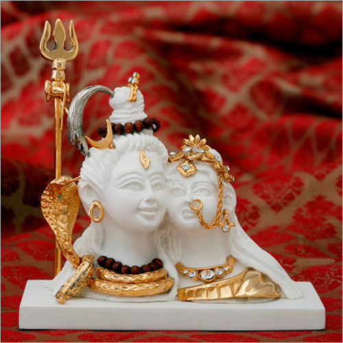 Decorative Gold Plated Resin Shiv Parvati Statue