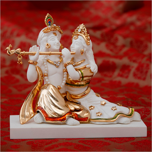 Fancy Gold Plated Resin Radha Krishna Statue