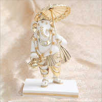 Gold Plated Resin Umbrella Ganesh Statue