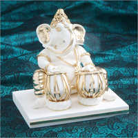 Gold Plated Resin Ganesh With Tabla Statue