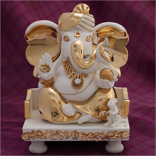 Decorative Gold Plated Resin Ganesh Statue