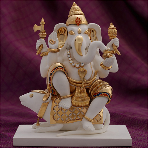 Gold Plated Resin Ganesh and Mooshak Statue