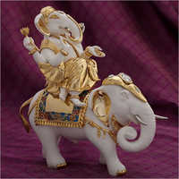 Gold Plated Resin Ganesh And Elephant Statue