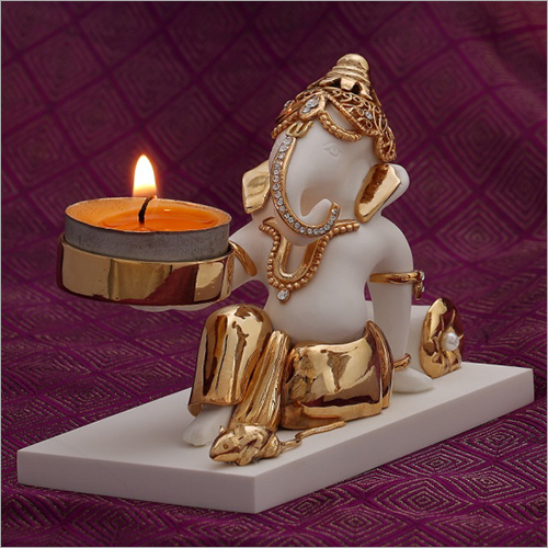 White Gold Plated Resin Ganesh Statue